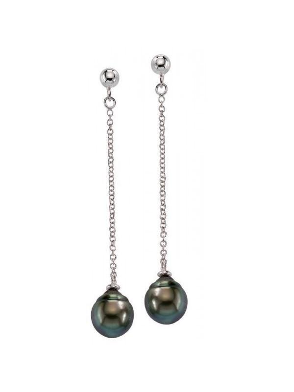 Boucles d'oreilles Mana pendantes et Perles de Tahiti poires Moea Perles - 1