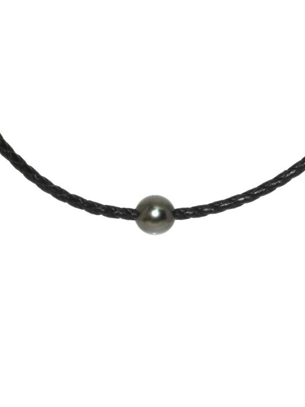 Collier cuir noir tressé et perle Moea Perles - 2
