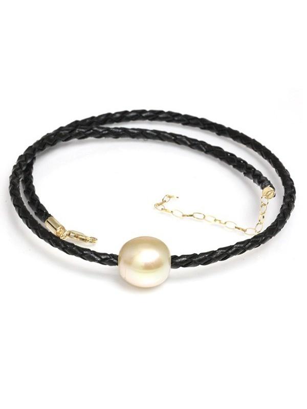 Collier cuir noir tressé et perle australie Moea Perles - 1