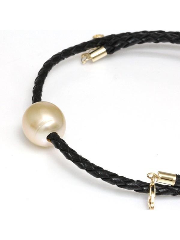 Collier cuir noir tressé et perle australie Moea Perles - 2