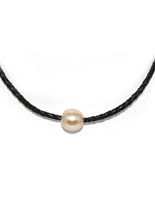 Collier cuir noir tressé et perle australie Moea Perles - 3