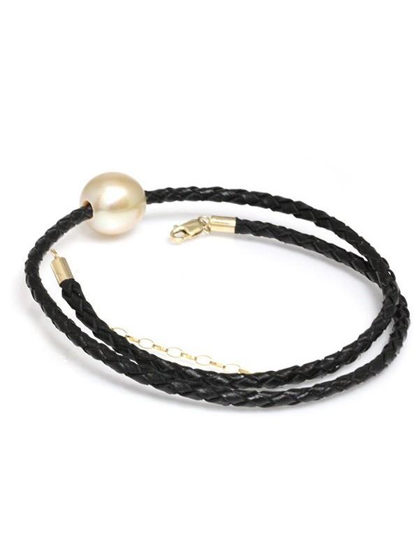 Collier cuir noir tressé et perle australie Moea Perles - 4