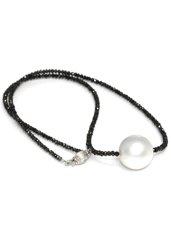 Collier perle australie et diamants noir Moea Perles - 4