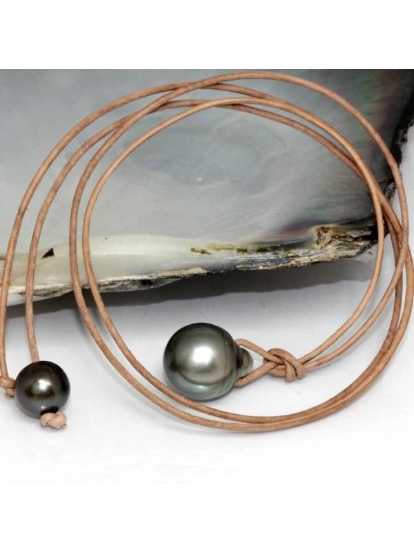 Collier cuir marron perle 13mm Moea Perles - 1