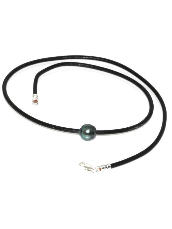 Collier cuir noir Ara Moea Perles - 1