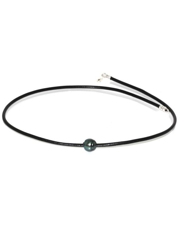Collier cuir noir Ara Moea Perles - 2