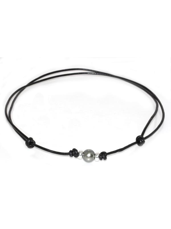 Collier cuir noir Moea Perles - 1