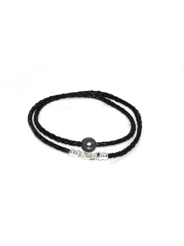 Collier cuir noir tressé et perle Moea Perles - 1