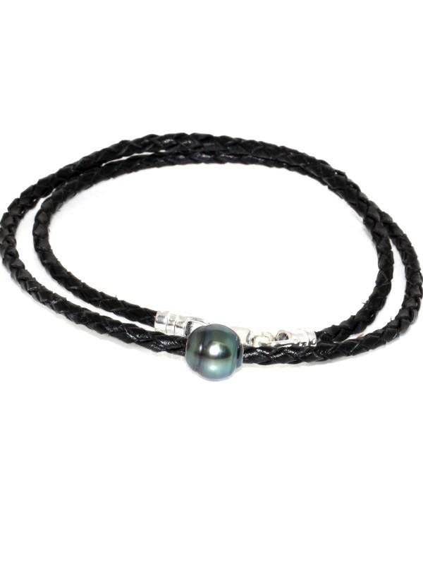 Collier cuir tréssé 1 perle de tahiti Moea Perles - 1