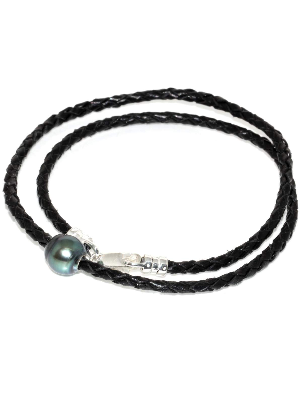 Collier cuir tréssé 1 perle de tahiti Moea Perles - 2