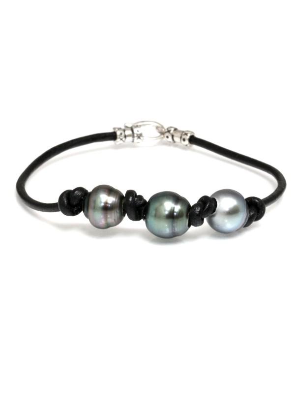 Bracelet cuir noir 3 perles Moea Perles - 1