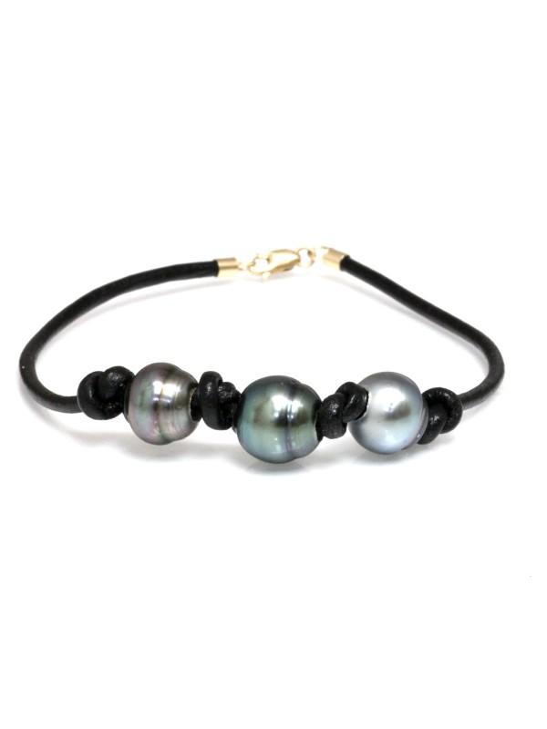 Bracelet cuir noir 3 perles Moea Perles - 2