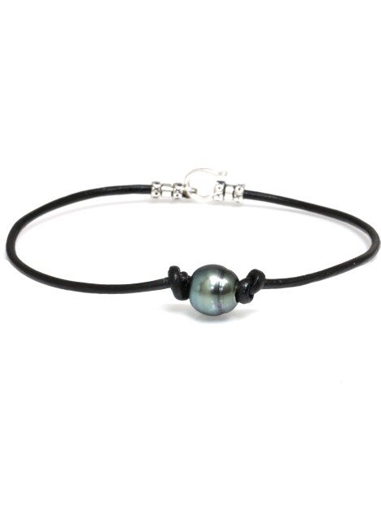 Bracelet cuir noir Moea Perles - 1