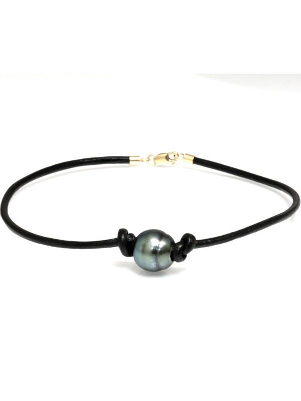 Bracelet cuir noir Moea Perles - 2