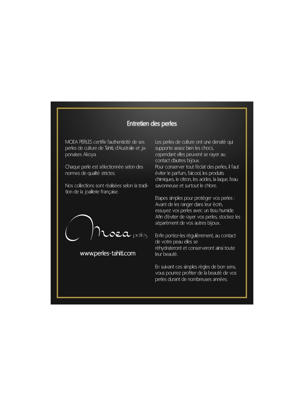 Collier cuir noir 3 perles Ario Moea Perles - 3