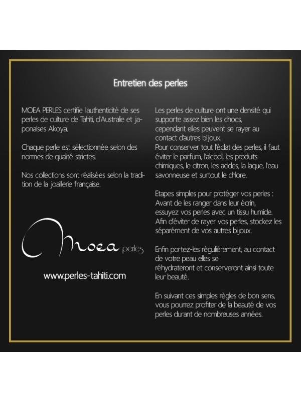 Collier cuir noir 3 perles Moea Perles - 3