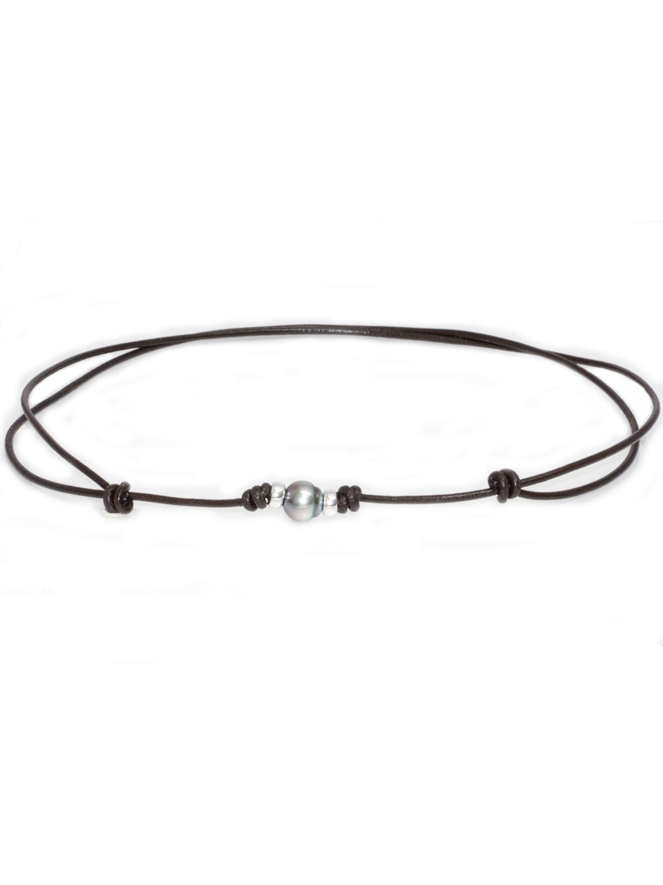 Collier cuir marron Moea Perles - 1