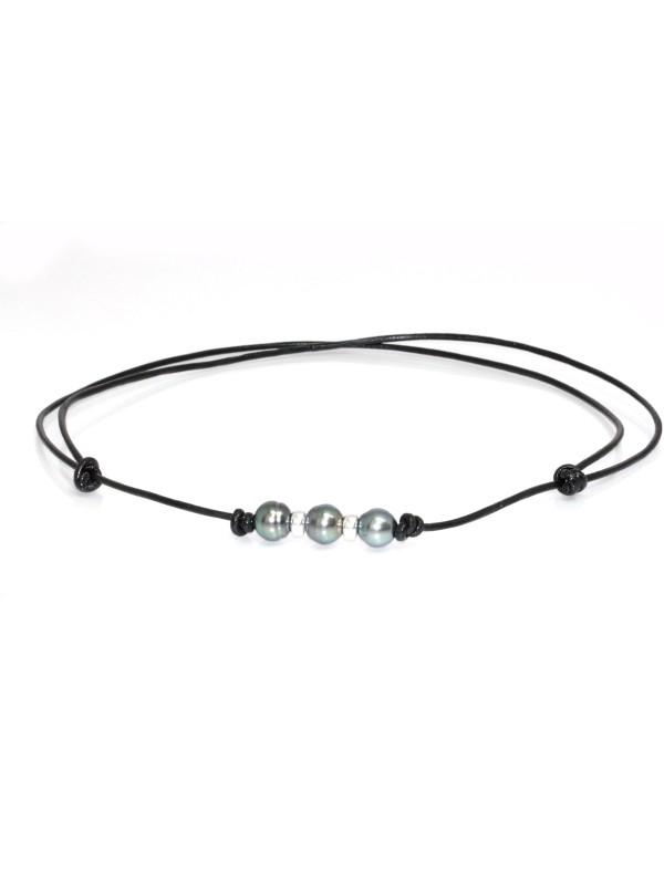 Collier cuir noir 3 perles Moea Perles - 1