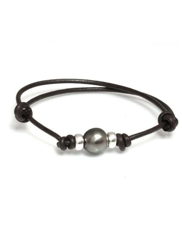 Bracelet cuir marron Moea Perles - 1