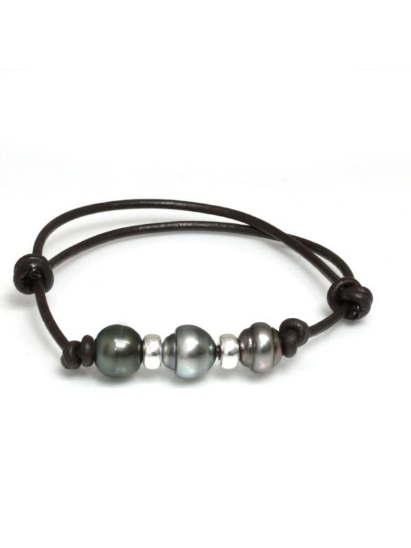 Bracelet cuir marron 3 perles Moea Perles - 1