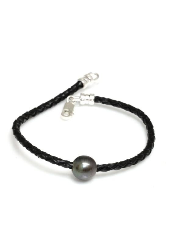 Bracelet cuir noir tressé Moea Perles - 1