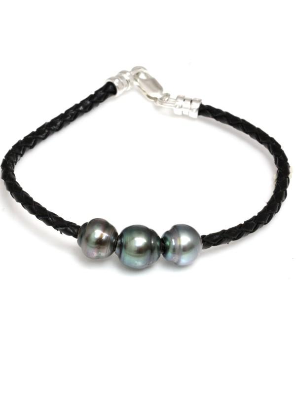 Bracelet cuir naturel 3 perles Moea Perles - 1