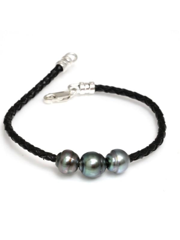 Bracelet cuir naturel 3 perles Moea Perles - 2