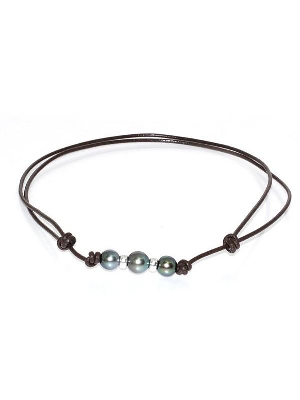 Collier cuir marron 3 perles Moea Perles - 1