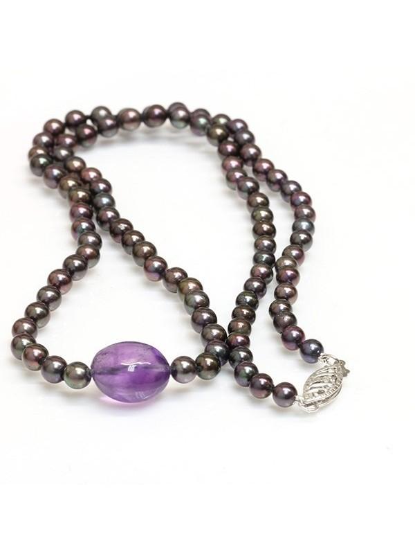Collier perle Akoya et Améthyste Moea Perles - 1