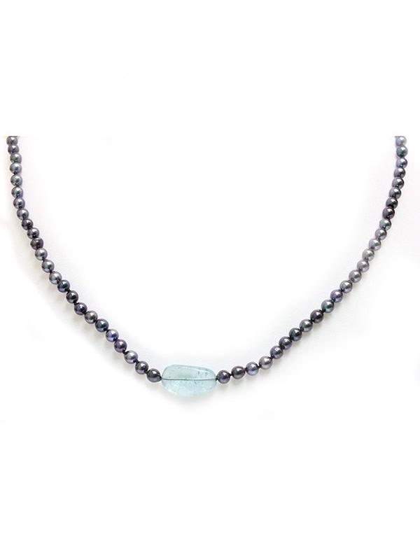Collier perle Akoya et Aquamarine Moea Perles - 2
