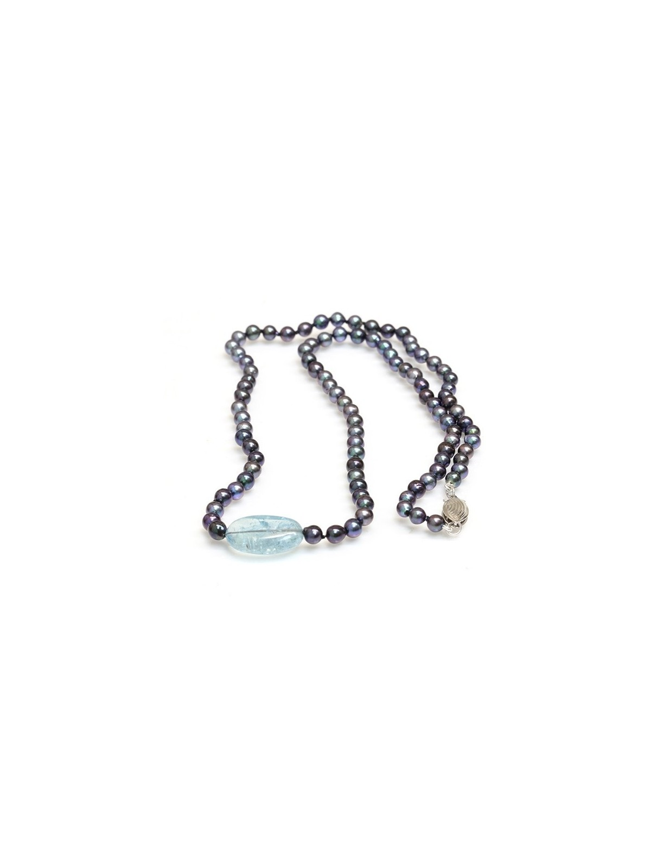 Collier perle Akoya et Aquamarine Moea Perles - 1