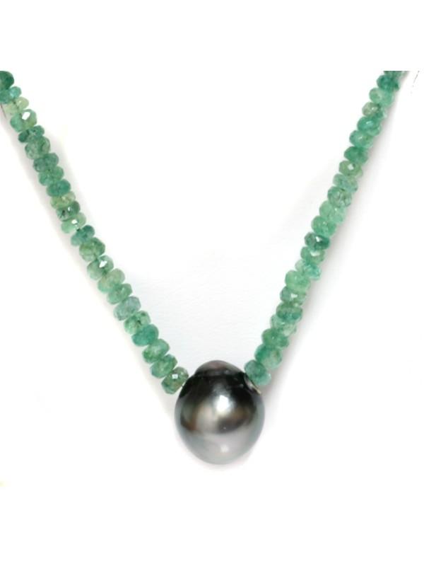 Collier perle tahiti et émeraude Moea Perles - 2