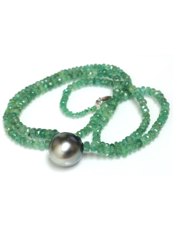 Collier perle tahiti et émeraude Moea Perles - 1