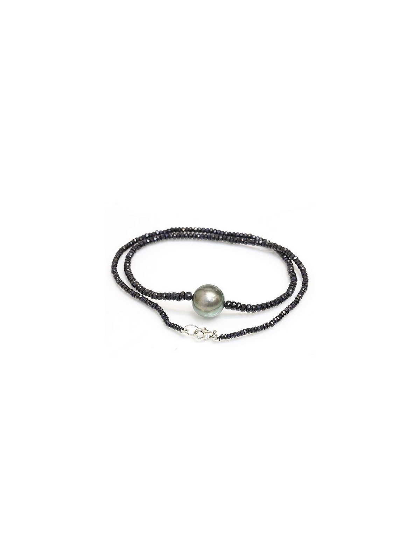 Collier perle tahiti ronde et saphir Moea Perles - 3