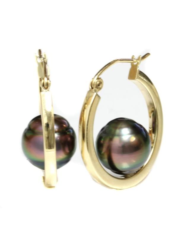 Boucles d'oreilles créoles Nina Moea Perles - 1