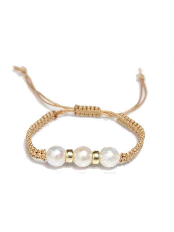 Bracelet shamballa 3 perles Akoya Moea Perles - 1