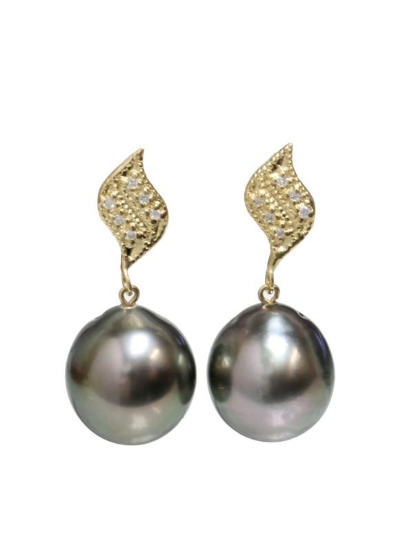 Boucles d'oreilles Fa perle de Tahiti et diamants Moea Perles - 1