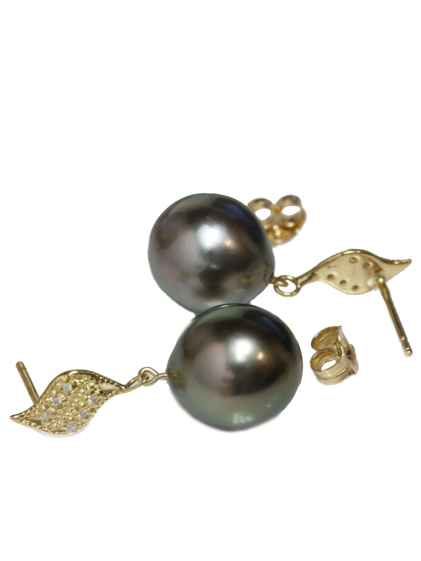Boucles d'oreilles Fa perle de Tahiti et diamants Moea Perles - 2