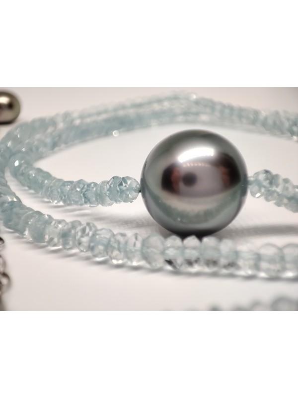 Collier perle tahiti ronde et aquamarine Moea Perles - 4