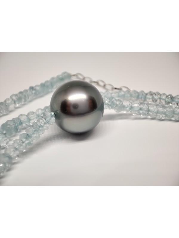 Collier perle tahiti ronde et aquamarine Moea Perles - 5
