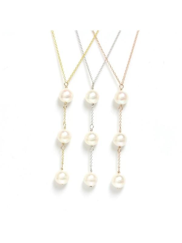 Collier Nui 3 perles japonaises Akoya -1