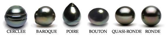 differentes formes des perles de tahiti